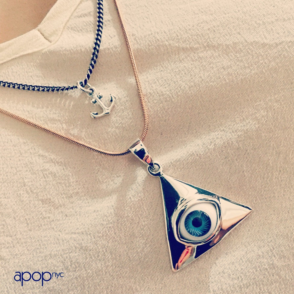 """I C U"" Sterling Silver Blue Eye of Providence Pendant Necklace"