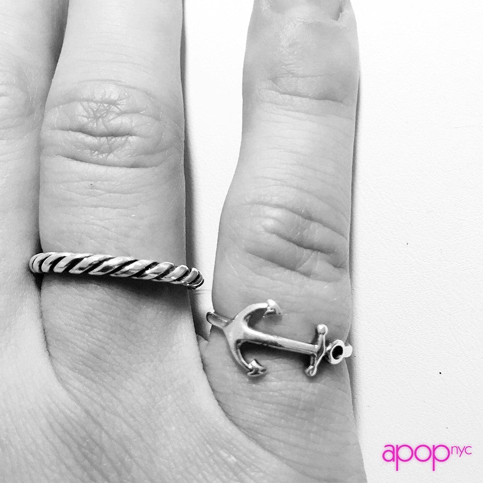 """Popeye"" Sterling Silver Rope Band Ring"
