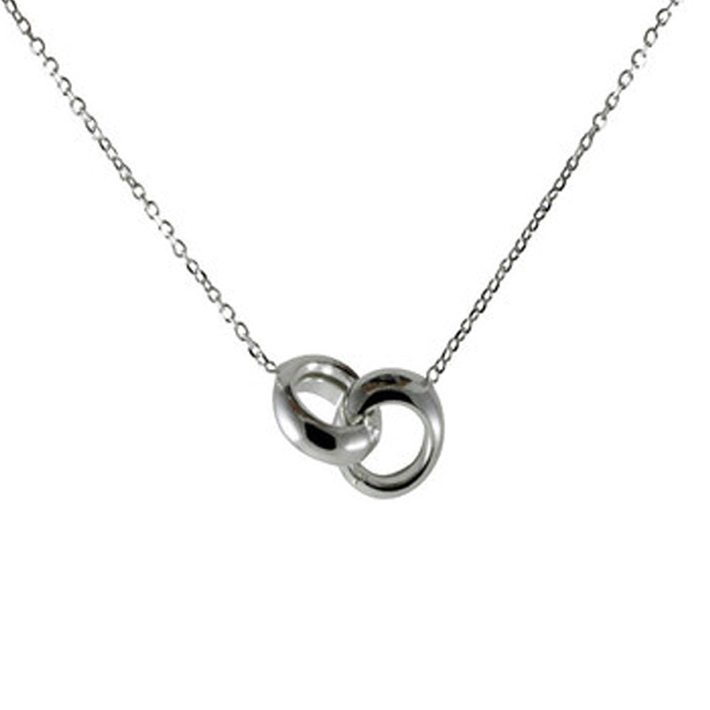 """Love Lock"" Sterling Silver Interlocking Rings Pendant Necklace"
