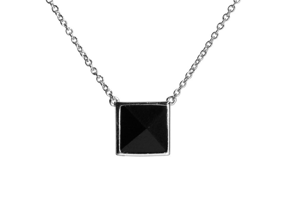 Sterling Silver Jet Black Pyramid Stud Necklace 17 inch