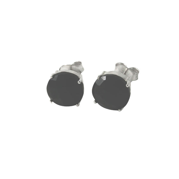 Sterling Silver Round Black Onyx Studs