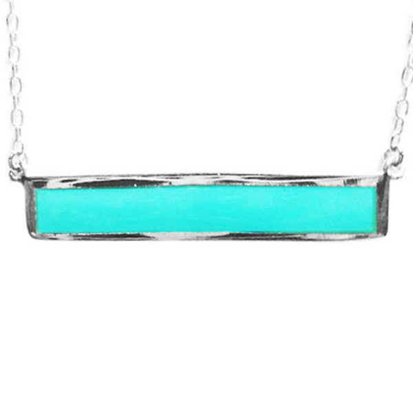 "Sterling Silver ""Turkoise"" Bar Pendant Necklace 17 inch"