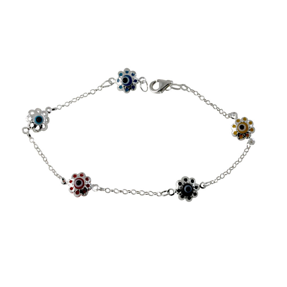 Sterling Silver Colorful Filigree Evil Eye Bracelet