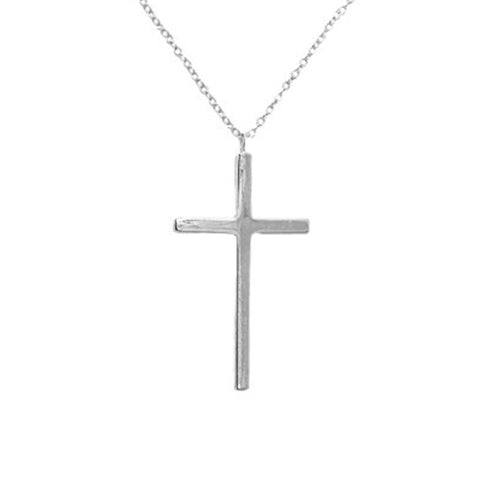Sterling Silver Large Cross Necklace 22 inch