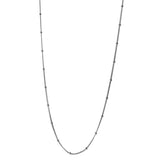 Sterling Silver Curb Beaded Chain Necklace