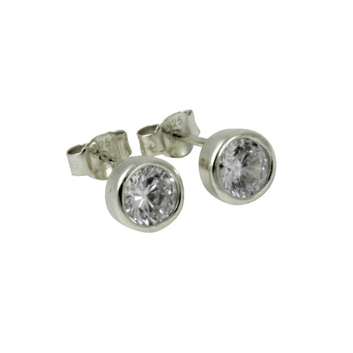Sterling Silver Bezel CZ Stud Earrings