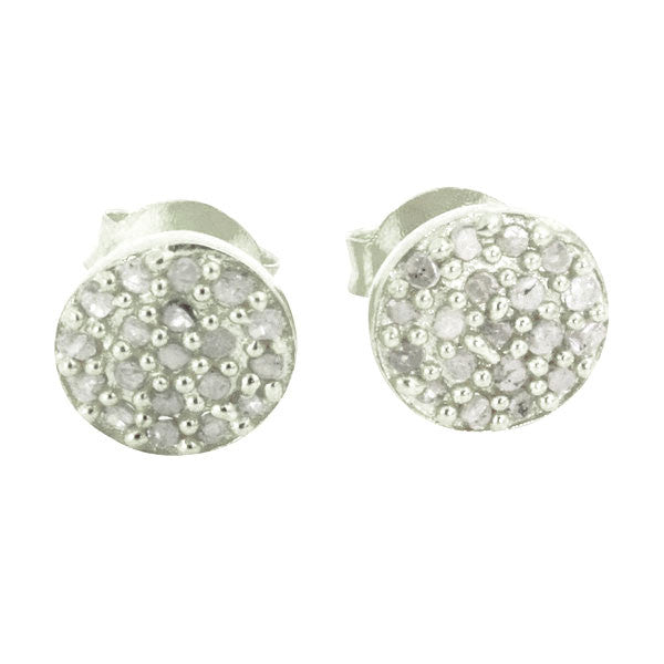 Sterling Silver Round Disc Pave Diamond Cluster Earrings