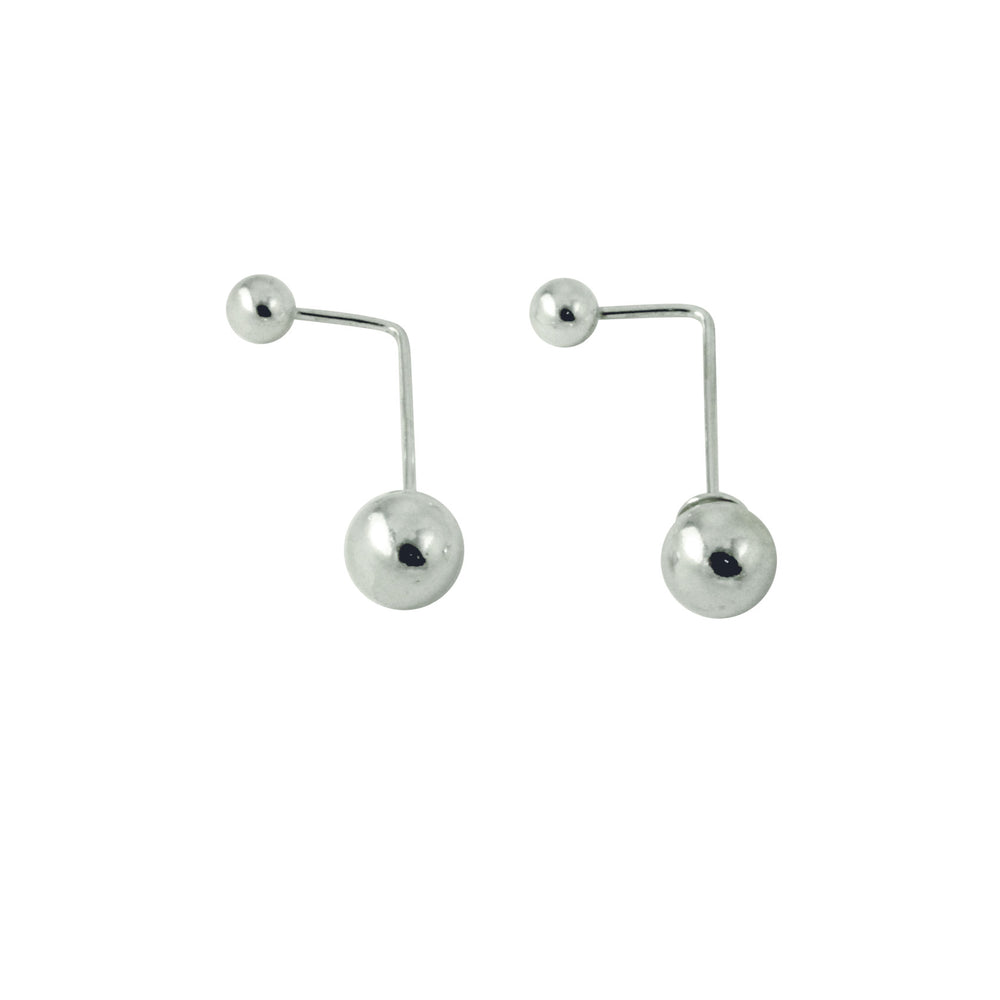"""BarBead"" Sterling Silver Double Stud Reversible Earrings"