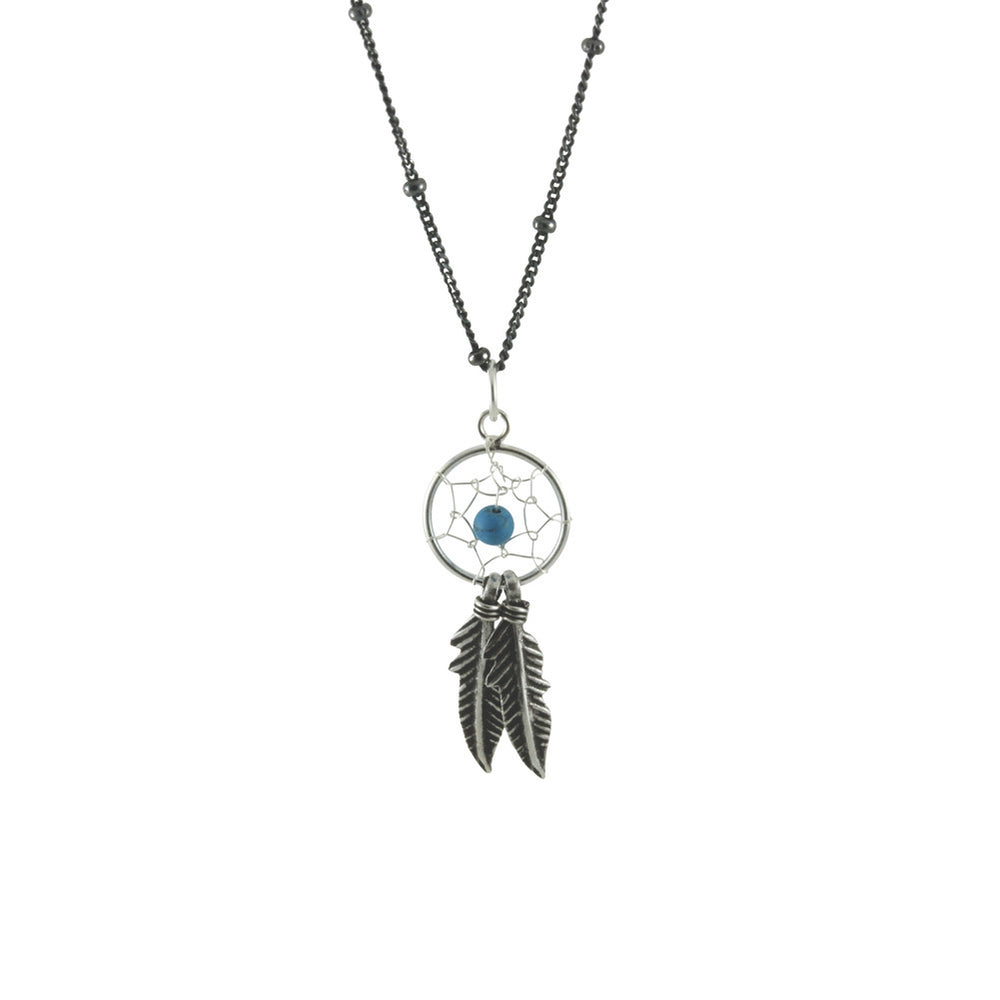 """Turkoise"" Sterling Silver DreamCatcher Necklace"