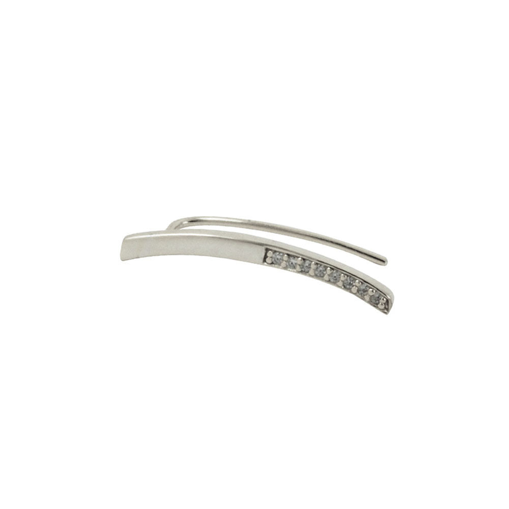 Sterling Silver Bar Ear Pin Cuff Earring with CZ Accent