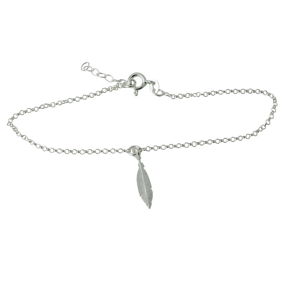 """Feather Charm"" Sterling Silver Anklet Chain Bracelet"