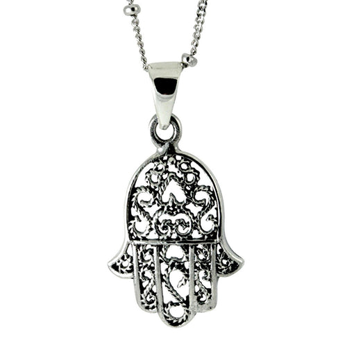 Sterling Silver Filigree Hamsa Pendant Necklace