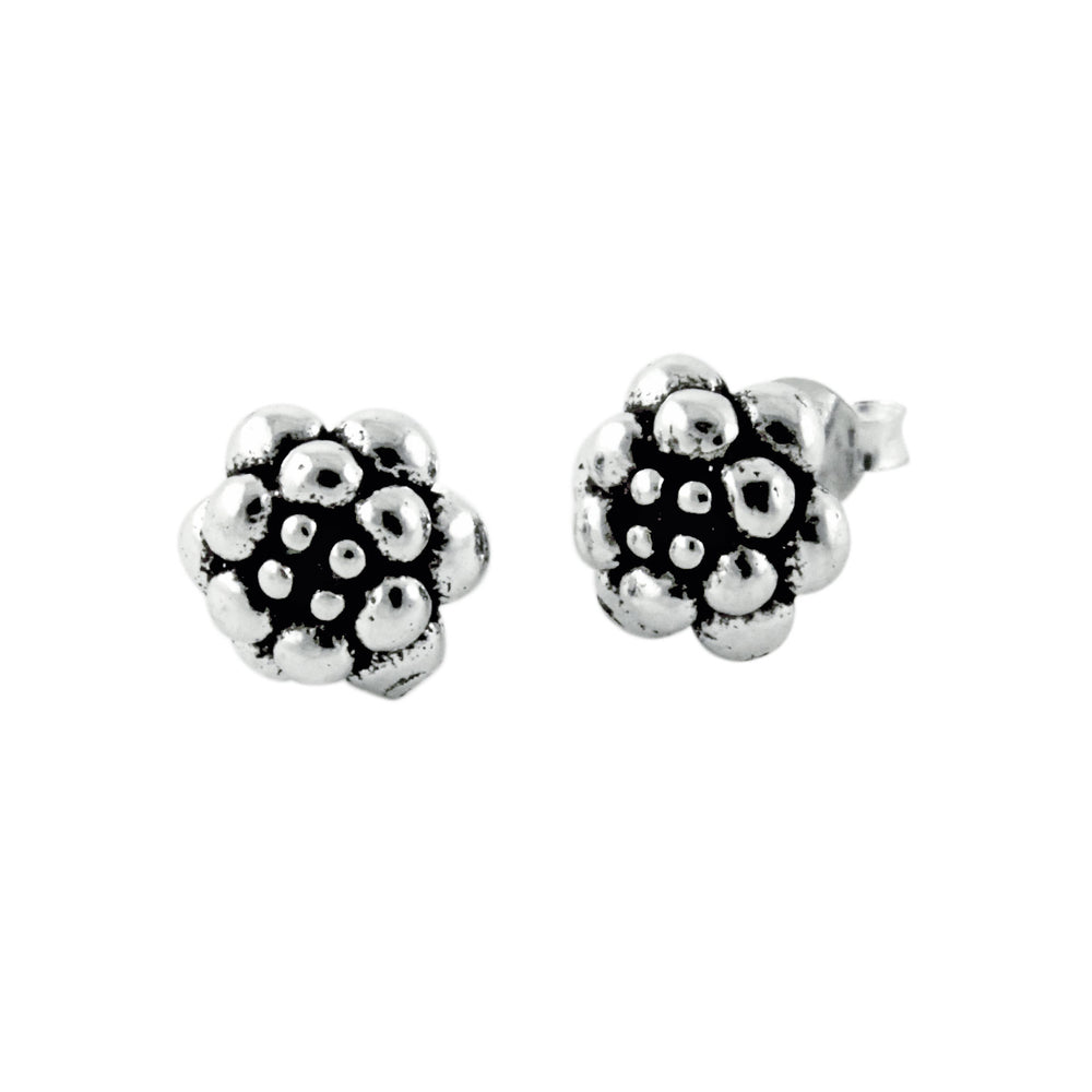 """Dandelion"" Sterling Silver Flower Cluster Stud Earrings"