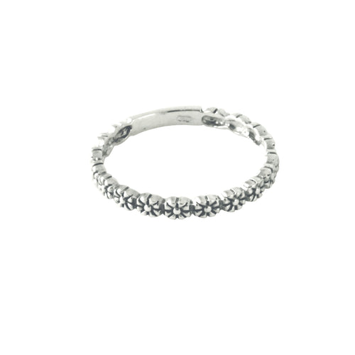 Sterling Silver Flower Band Stacking Ring