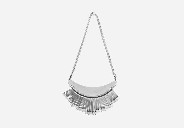 Silver Fringe Bib Statement Necklace