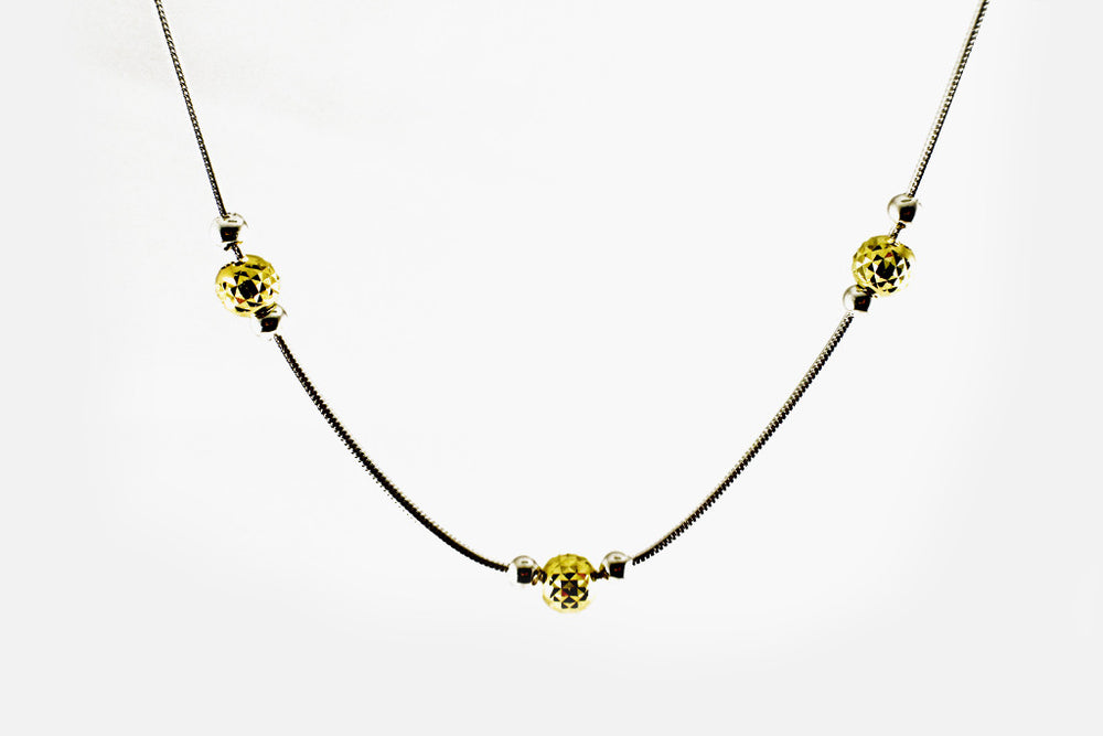 Gold-Dipped & Sterling Silver Station Bead Necklace