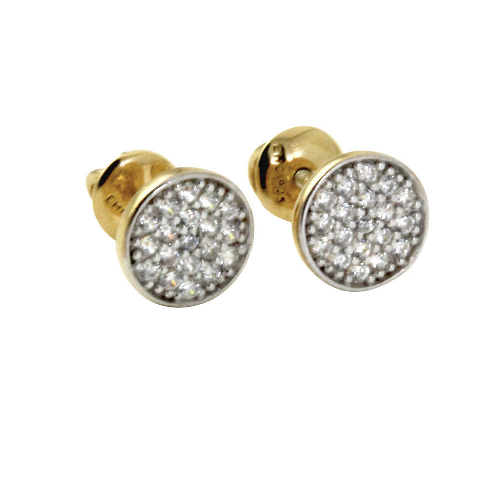 """Mini Twinkle"" Round CZ Pave Cluster Disc Screw-Back Stud Earrings"