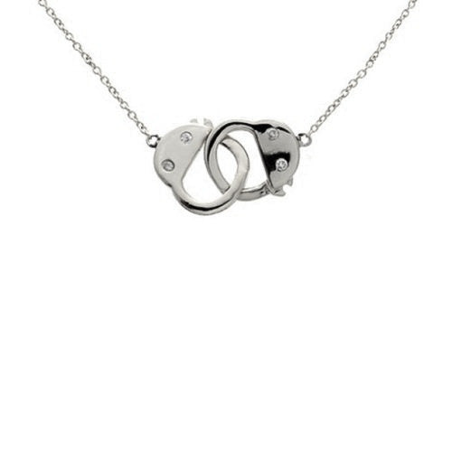 Sterling Silver Handcuff Necklace 16 - 17 inch