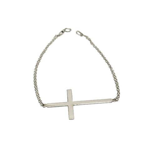 Sterling Silver Horizontal Cross Bracelet 7 inch Large Cross