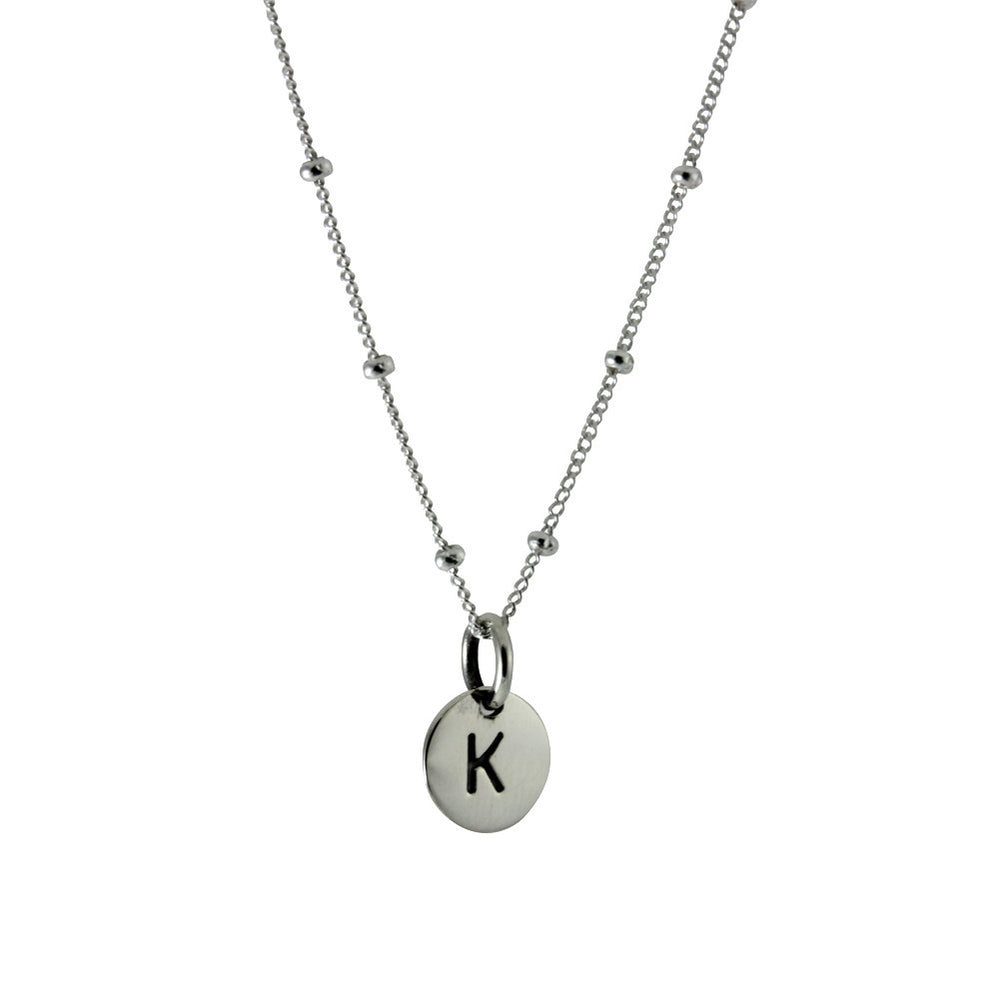 Sterling Silver Alphabet Initial Disc Charm Pendant Only