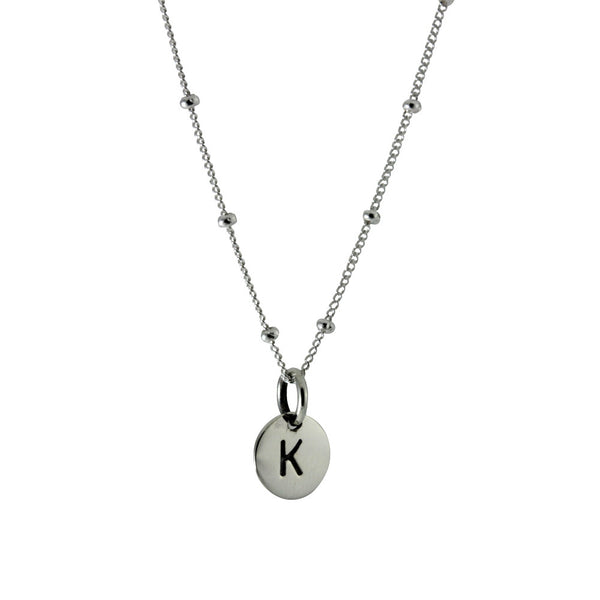 Sterling Silver Alphabet Initial Disc Charm Pendant Necklace