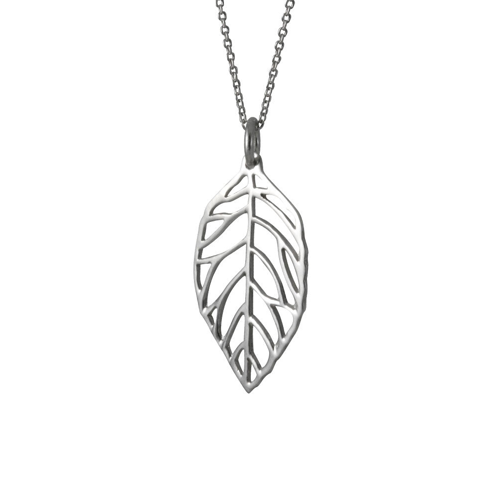 Sterling silver open leaf pendant necklace 18 inch 30 inch sterling silver open leaf pendant necklace aloadofball Image collections