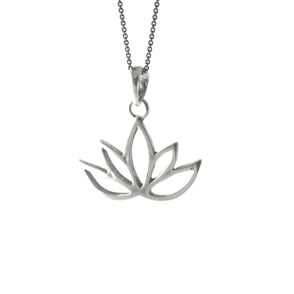 Sterling Silver Blooming Lotus Pendant Necklace