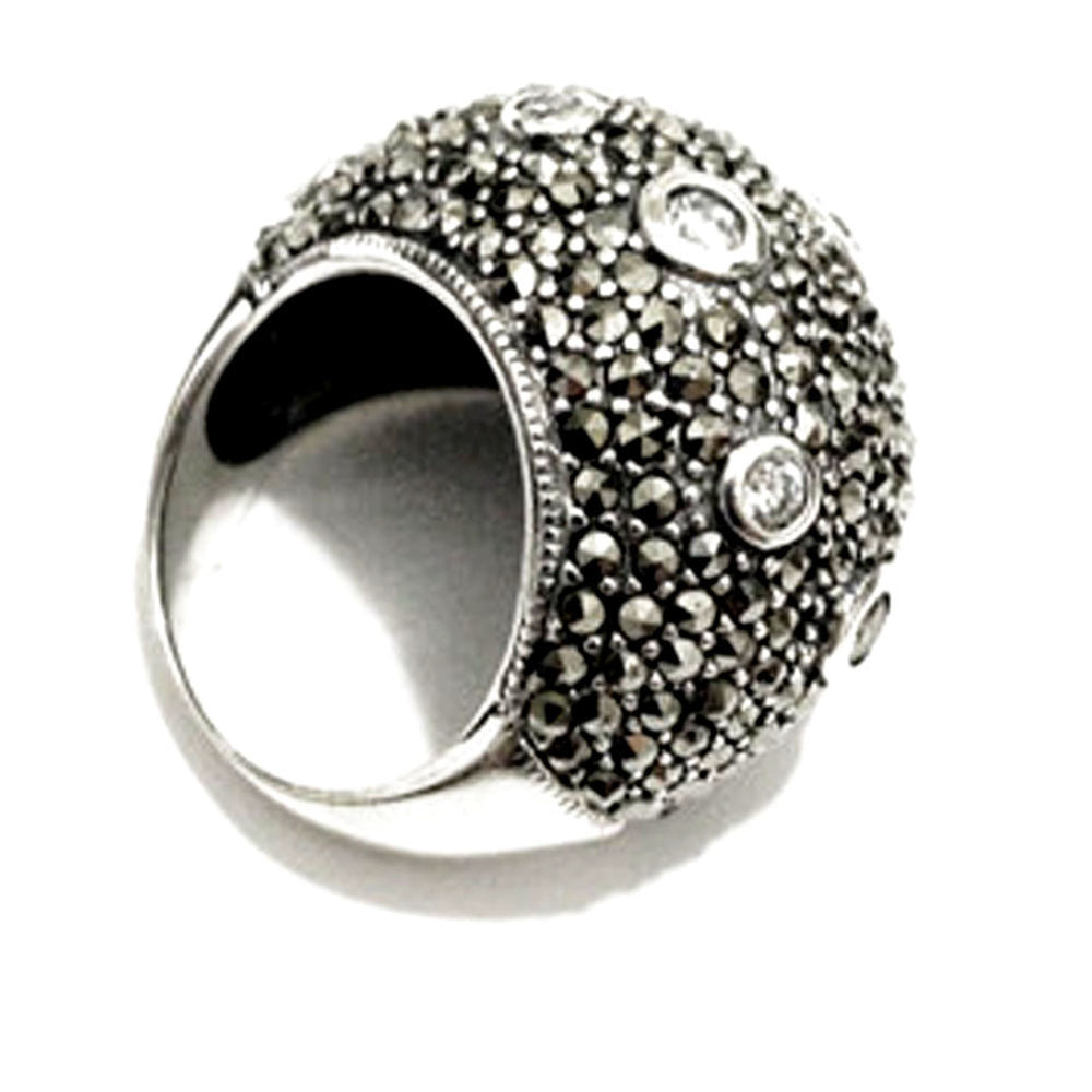 "Sterling Silver Marcasite ""Bubble"" Dome Cocktail Ring"