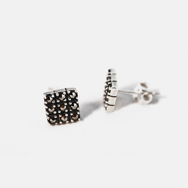 Square Sterling Silver Marcasite Cluster Earrings