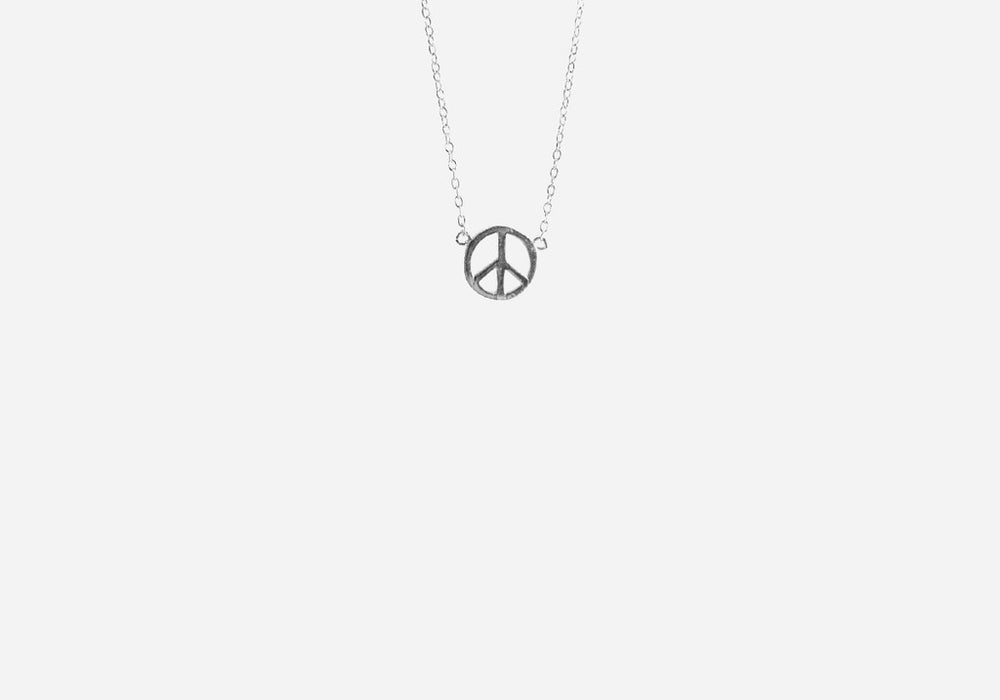 Sterling Silver Mini Peace Charm Necklace 16 inch
