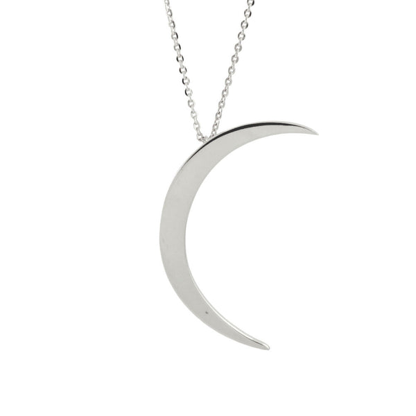 "Sterling Silver ""Moody Lunette"" Moon Necklace"