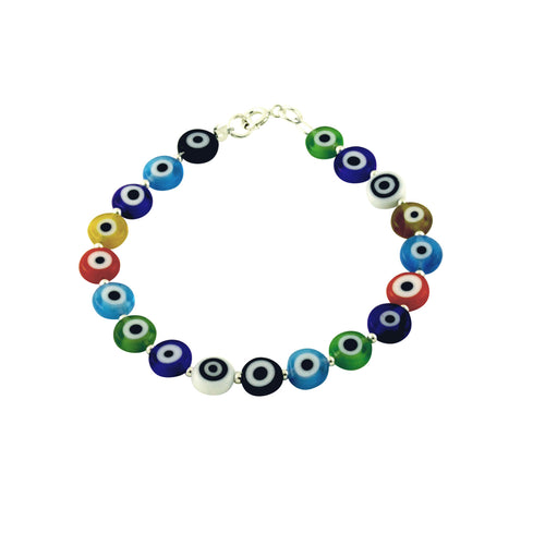 Silver Multicolor Colorful Evil Eye Bracelet