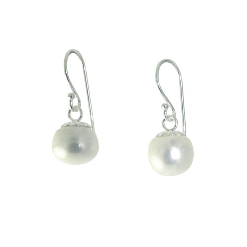 Sterling Silver Pearl Round Drop Earrings