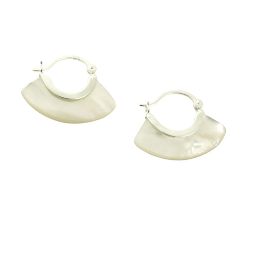 Sterling Silver Pearl Blade Hoop Earrings