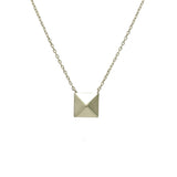 Sterling Silver Single Pyramid Stud Necklace 17 inch