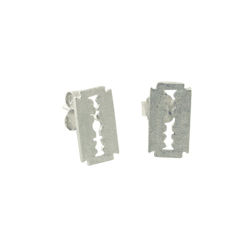 Sterling Safety Razor Blade Stud Earrings