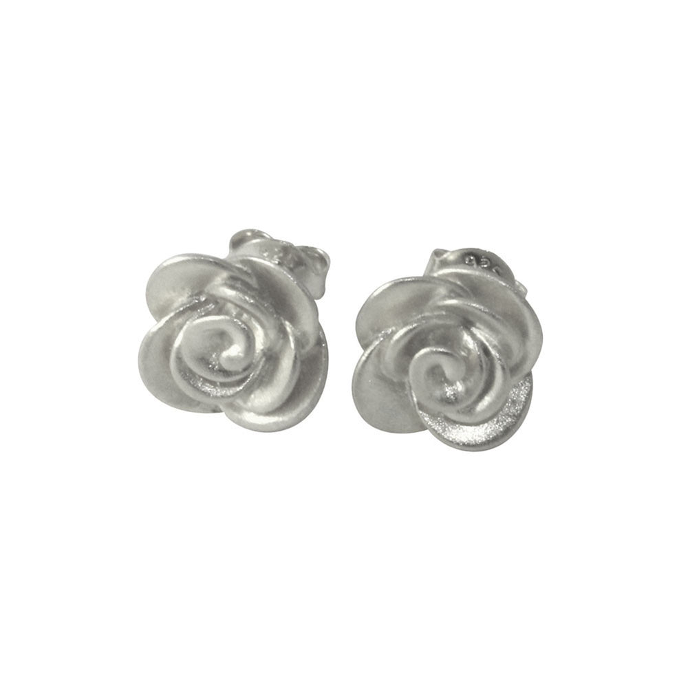 """Sincerely Satin"" Sterling Silver Rose Stud Earrings Flower"