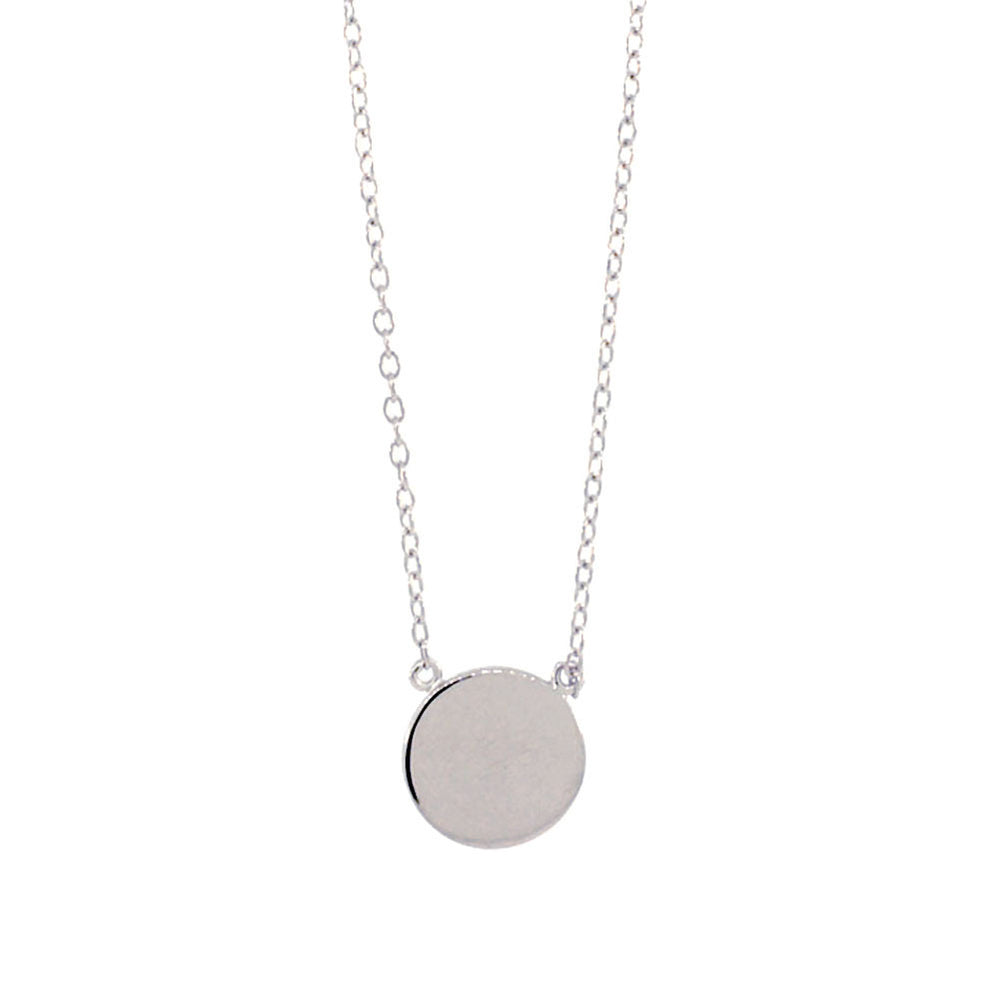 Sterling silver round disc medallion pendant necklace 16 inch apop sterling silver round disc pendant necklace 16 inch aloadofball Image collections
