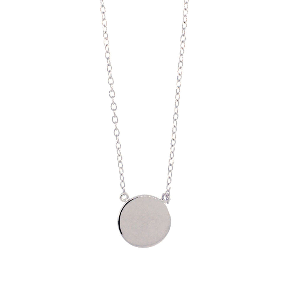 Sterling silver round disc medallion pendant necklace 16 inch apop sterling silver round disc pendant necklace mozeypictures Image collections