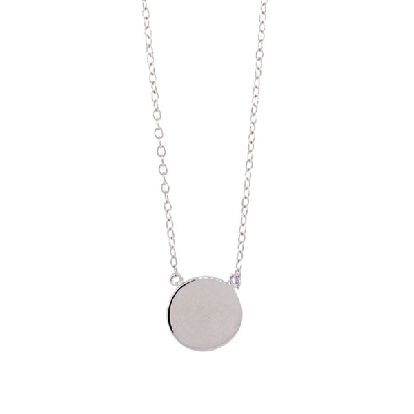 Sterling Silver Round Disc Pendant Necklace 16 inch