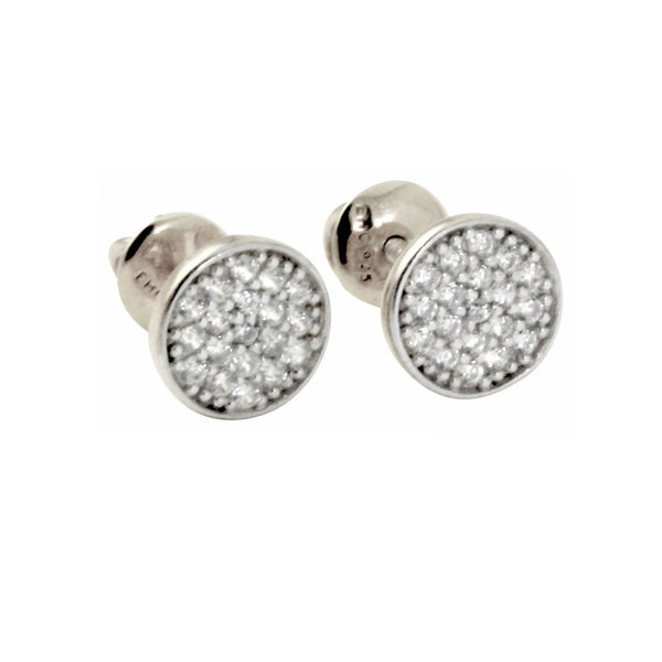 """Mini Twinkle"" Sterling Silver Pave Screw-Back Stud Earrings"