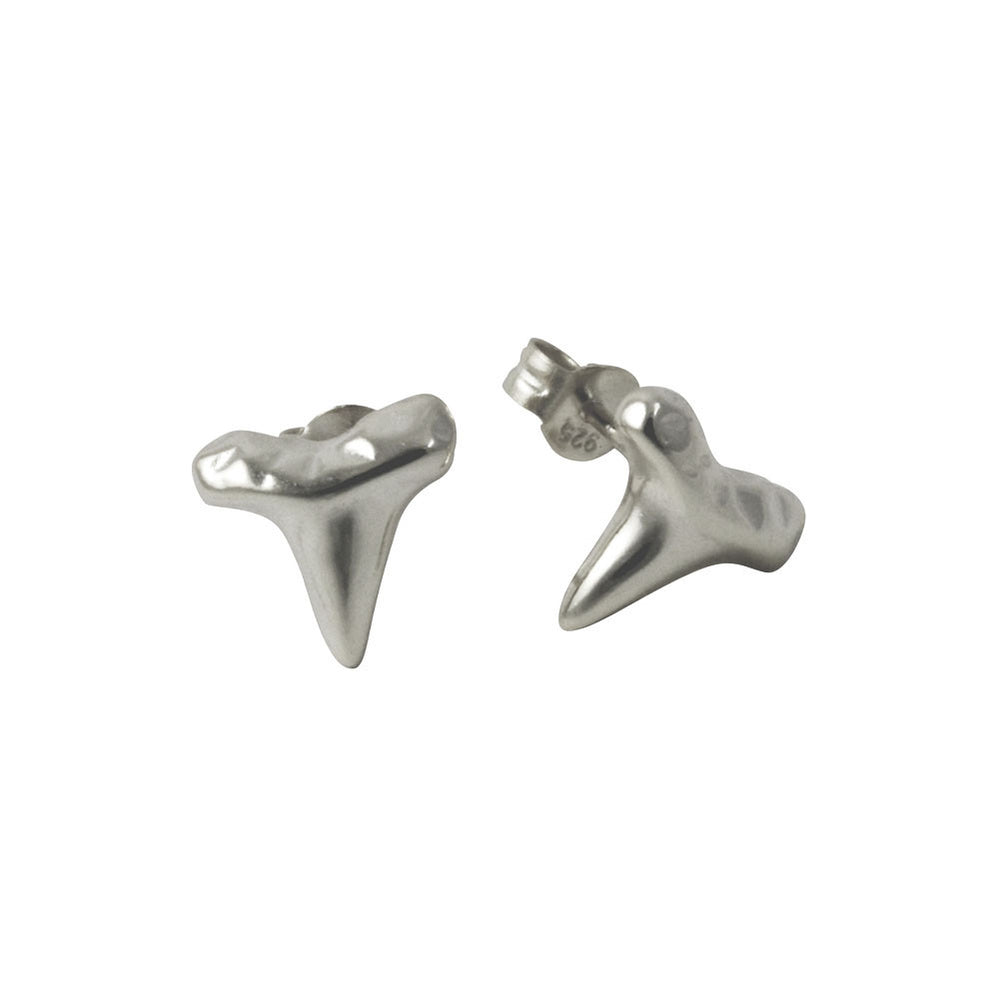 Sterling Silver Shark Tooth Stud Earrings