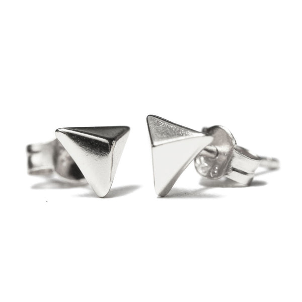 Mini Sterling Silver Pyramid Stud Earrings