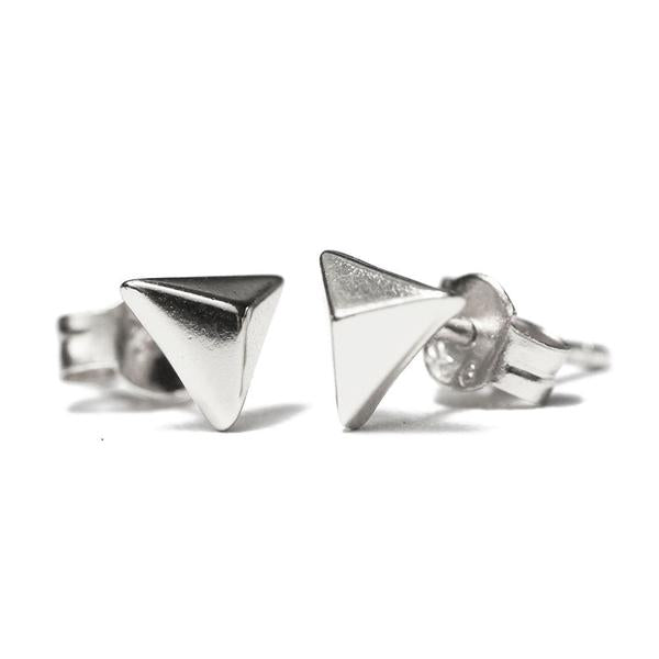 Sterling Silver Mini Pyramid Stud Earrings
