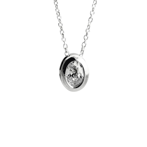 Silver CZ Oval Solitaire Pendant Necklace