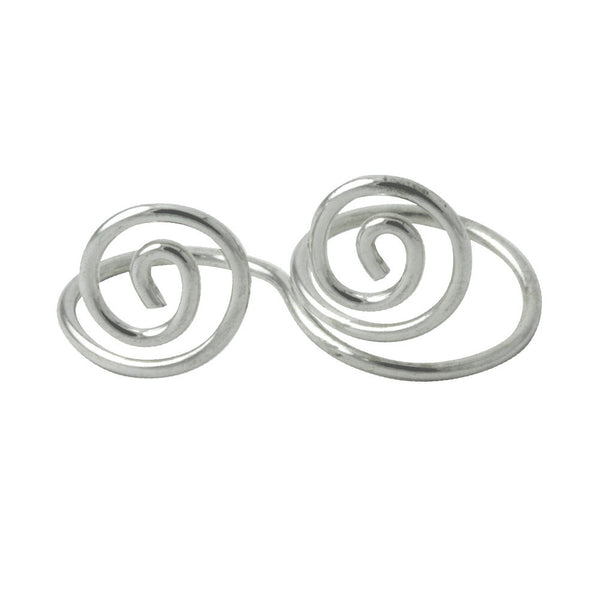 Modern Swirl Sterling Silver Double Finger Ring