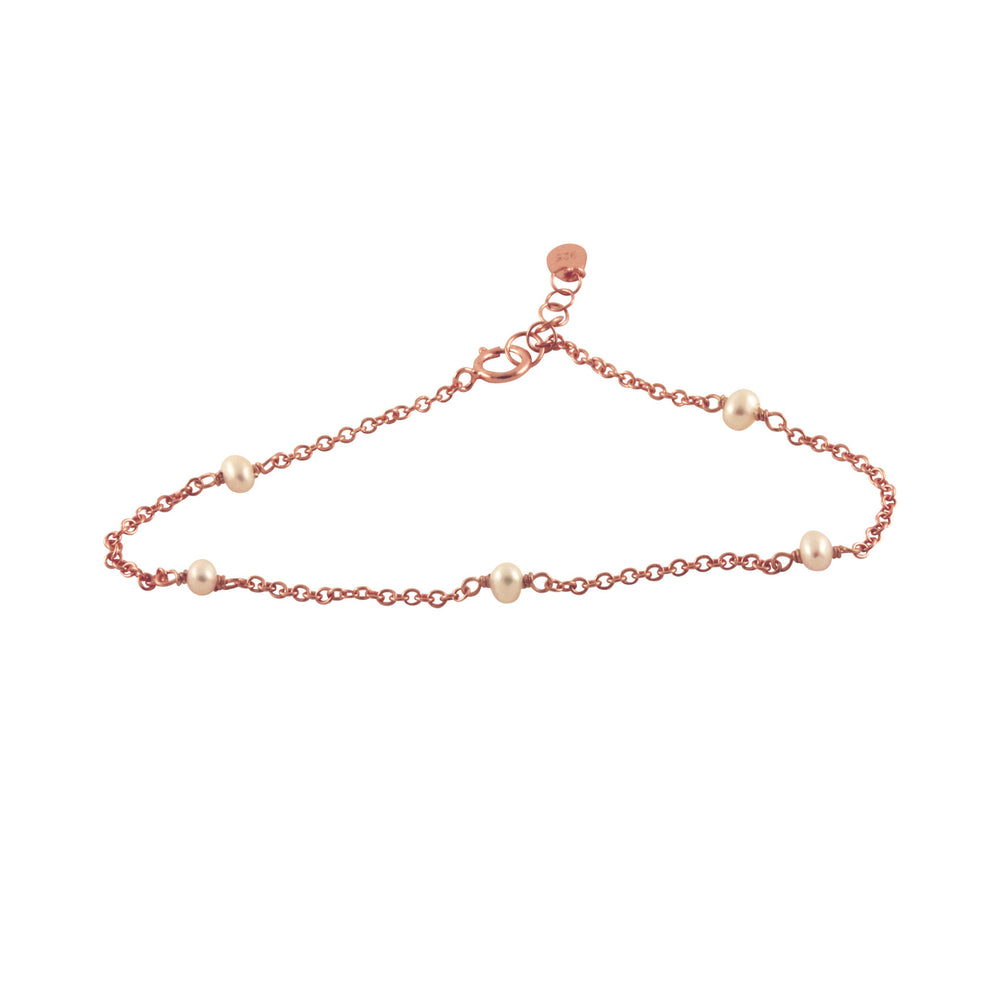 Sterling Silver Mini Pearl Chain Bracelet