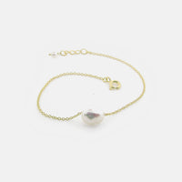 "Gold-Dipped Natural ""Baroque"" Single Pearl Bracelet 7 inch"