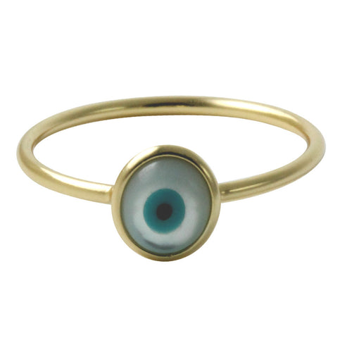 Gold-Dipped Mini Blue Evil Eye Ring