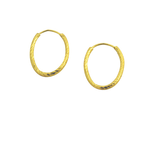 Sparkle Oval Gold Hoop Earrings